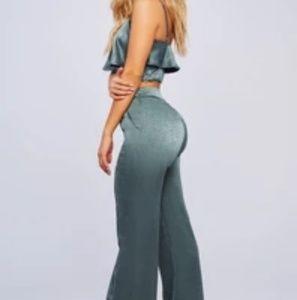 Honeybum satin crop top and pants set